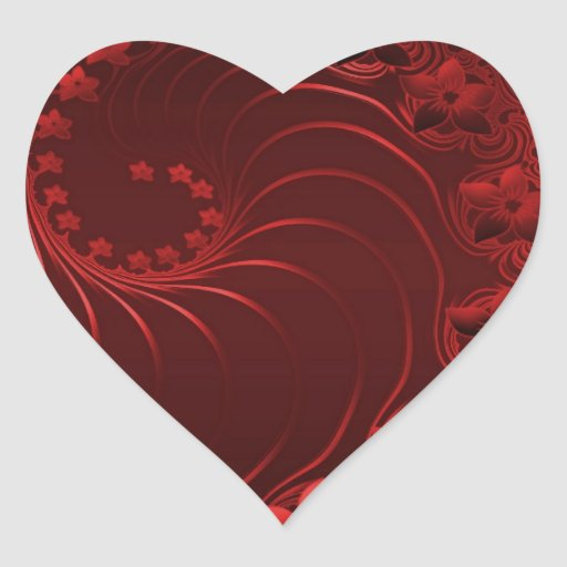 Dark Red Abstract Flowers Heart Sticker