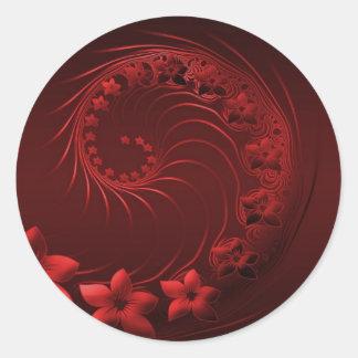 Dark Red Abstract Flowers Round Sticker