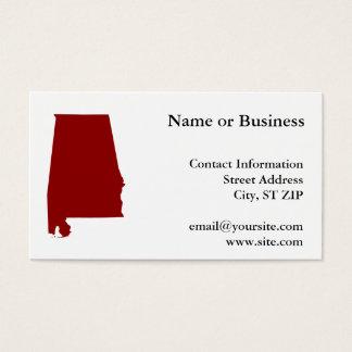 Dark Red Alabama Shape Business Card