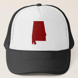 Dark Red Alabama Shape Trucker Hat