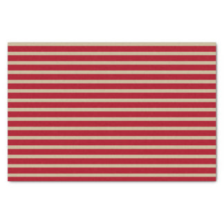 Dark Red and Beige Stripes Tissue Paper