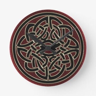 Dark Red and Black Metallic Celtic Knot Round Clock