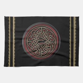 Dark Red and Black Metallic Celtic Knot Tea Towel
