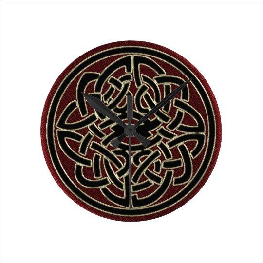 Dark Red and Black Metallic Celtic Knot Wall Clocks