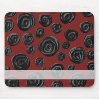 Dark red and black rose pattern. mouse pad
