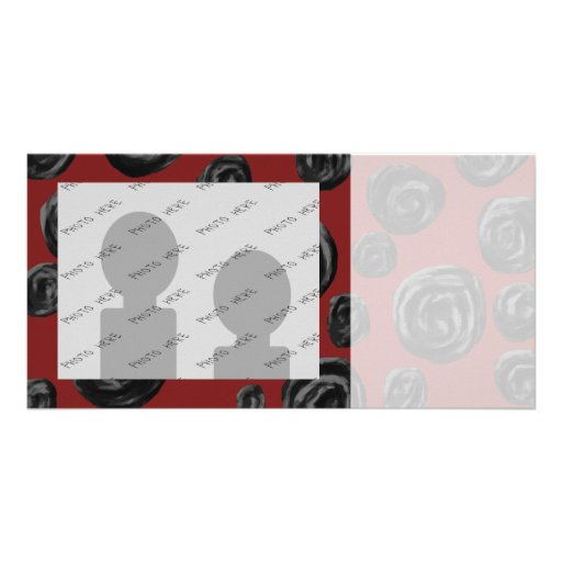 Dark red and black rose pattern. customized photo card