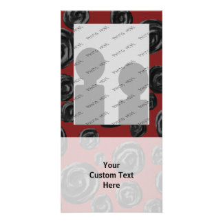 Dark red and black rose pattern. picture card