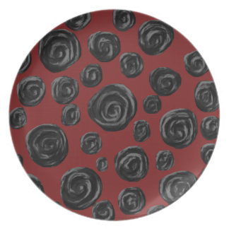 Dark red and black rose pattern. plate