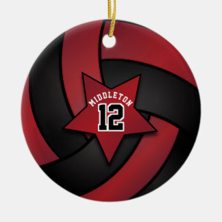 Dark Red and Black Star Volleyball Christmas Ornament