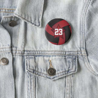 Dark Red and Black Volleyball Star Players 6 Cm Round Badge
