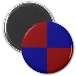 Dark Red and Blue Rectangles 6 Cm Round Magnet