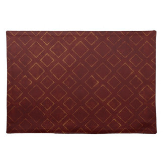 Dark Red and Gold Diamond Pattern Placemats