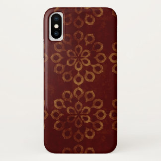 Dark Red and Gold Flower Pattern iPhone X Case
