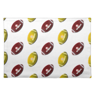 Dark Red and Gold Football Pattern Place Mat