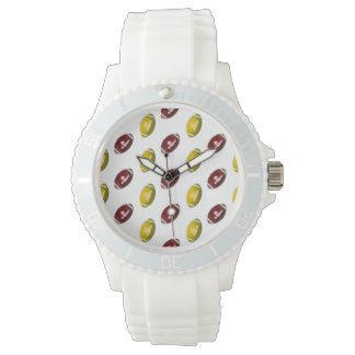 Dark Red and Gold Football Pattern Wristwatch