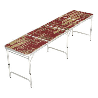 Dark Red and Gold Modern Art Beer Pong Table
