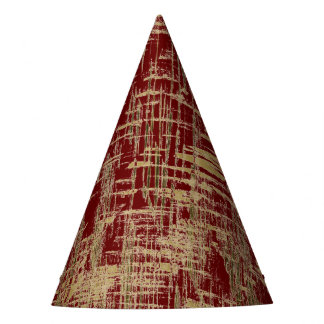 Dark Red and Gold Modern Art Party Hat