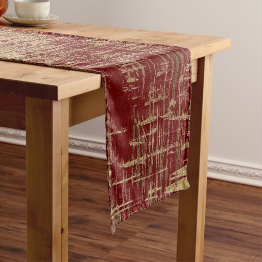 Dark Red and Gold Modern Art Short Table