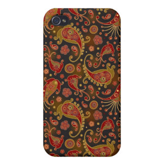 Dark Red and Gold Paisley Pern iPhone 4 Covers