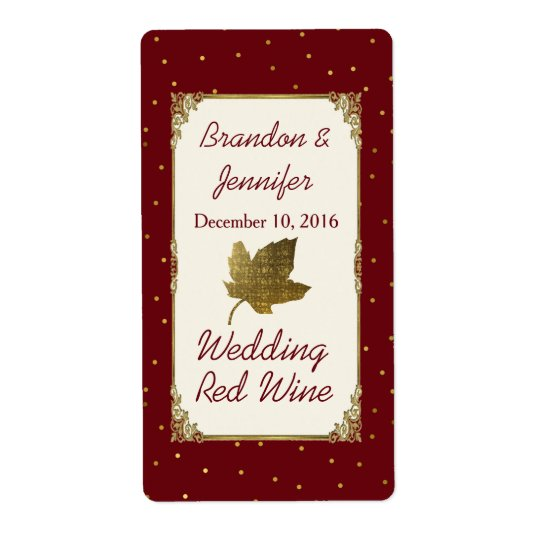 Dark Red and Golden Leaf Wedding Mini Wine