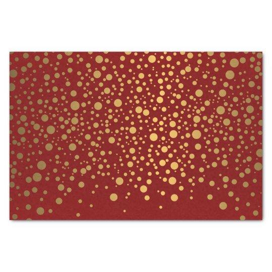 Dark Red and Metallic Gold Confetti Tissue Paper