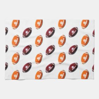 Dark Red and Orange Football Pattern Tea Towel