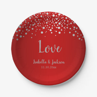 Dark Red and Silver Confetti Dots Paper Plate