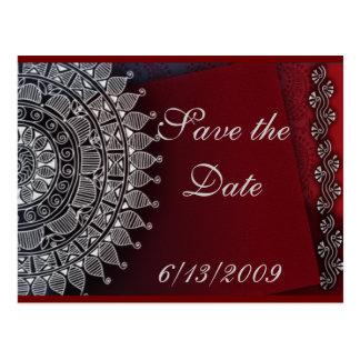 Dark red and silver design postcard