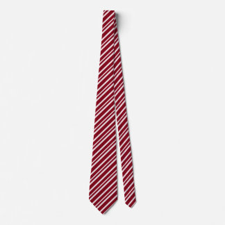 Dark Red and White Candy Cane Diagonal Stripes Tie