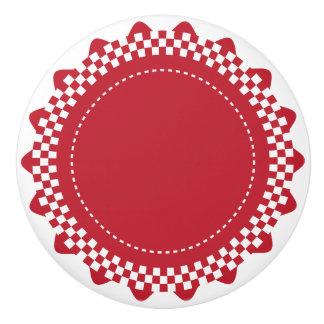 Dark Red and White Checkered Scallop Ceramic Knob
