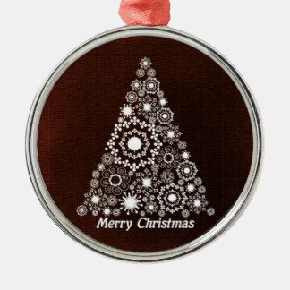 Dark Red And White Christmas Tree Christmas Ornament