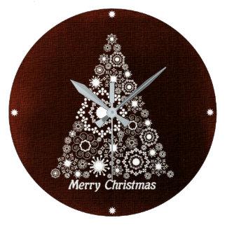 Dark Red And White Christmas Tree Large Clock