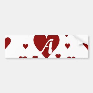Dark Red and White Hearts Monogram Bumper Stickers