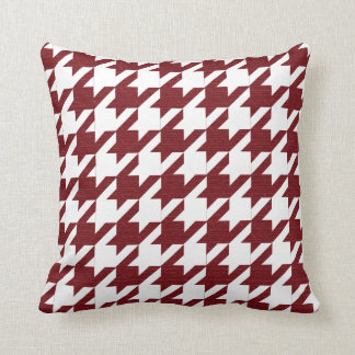 Dark Red and White Houndstooth Pattern Cushion