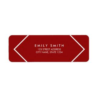 Dark Red and White Minimalist Geometric Address Return Address Label