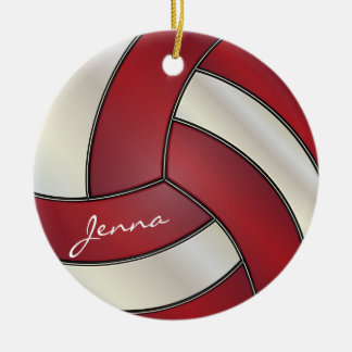 Dark Red and White Personalize Volleyball Round Ceramic Decoration
