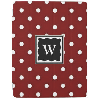 Dark Red and White Polka Dots, Template iPad Cover