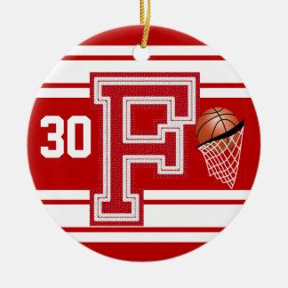 Dark Red Basketball All Varsity  Letters -F Christmas Ornament