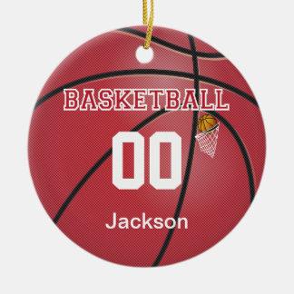 Dark Red Basketball | DIY Name & Number Christmas Ornament