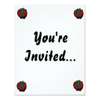 """Dark Red bell pepper top view graphic 4.25"""" X 5.5"""" Invitation Card"""