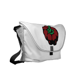 Dark Red bell pepper top view graphic Courier Bags