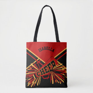 Dark Red, Black & Gold Cheerleader Design Tote Bag