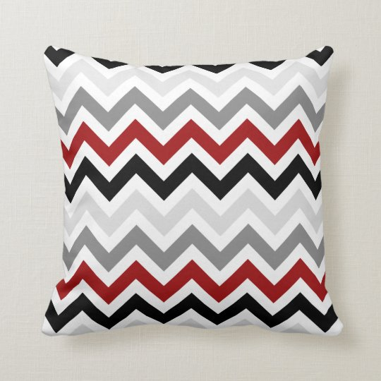 Dark Red Black Grey Chevron Zigzag Pattern Throw