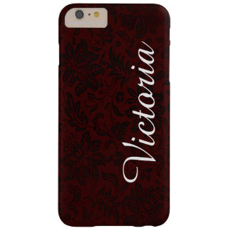 Dark Red Black Victorian Flower Pattern Barely There iPhone 6 Plus Case