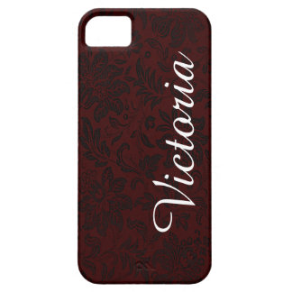 Dark Red Black Victorian Flower Pattern Case For The iPhone 5
