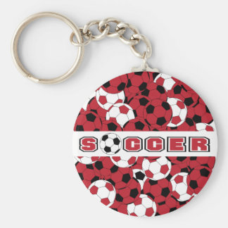 Dark Red, Black & White Personalize Soccer Ball Basic Round Button Key Ring