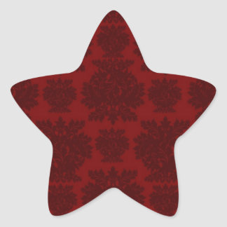 dark red bold damask design star sticker