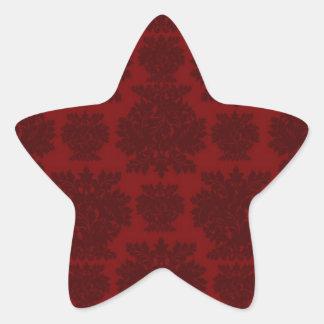 dark red bold damask design star sticker