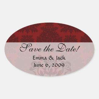 dark red bold damask design oval sticker