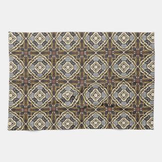Dark Red Brown Gray Ochre Hip Ornate Art Motif Tea Towel